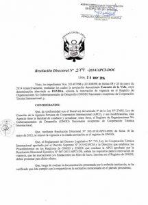 Resolución de organización receptora de cooperación