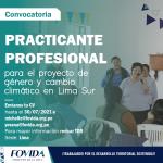CONVOCATORIA| Practicante profesional para el proyecto de género y cambio climático en Lima Sur